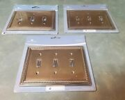 Beaded Decorative Triple Switch Plate, Tumbled Antique Brass Lot Of 3. In Packs