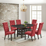 Lemont 7-piece Dining Set Rectangle Table And 6 Parson Chairs Black/red