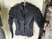 Antique Black Victorian Edwardian Bodice Jet Beaded Lace Blouse Jacket Top As Is