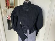 Antique Black Silk Victorian Edwardian Embroidered And Appliqué Blouse Jacket Top