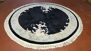 6x6 Round Hand-knotted Wool Black Carving Chinese 90 Line Vintage Art Deco Rug