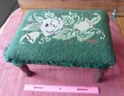 Antique Ottoman Foot Stool Pouf Green Floral Wooden Vintage Needlepoint Antique