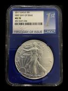 2017 American Silver Eagle - Ms70 First Day Blue Core Issued Label 1 Ngc Coin