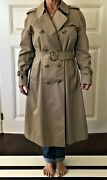 Vintage Burberrys' Classic Belted Trench Coat Nova Check Lining Women 14 Petite