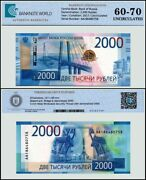 Russia 2000 Rubles Banknote 2017 P-279 Unc Tap 60-70 Authenticated