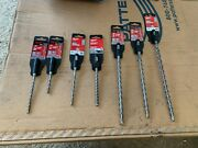 Milwaukee Hammer Drill Bits 7/32, 1/4, 5/16, 3/8 Different Lengths - Seven Total