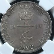 1/4 Dollar 1820 British West Indies Km3 Ngc Ms-61 Bwi Iv Silver Anchor Money