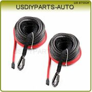 3/8 X 95ft Winch Synthetic Tow Rope Line Recovery Cable For Atv Utv 2pcs