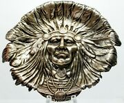 Magnificent Vintage Unger Brothers Sterling Silver Native American Indian Chief