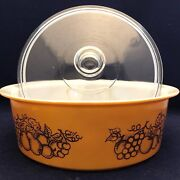 Pyrex Old Orchard 664 Big Bertha Covered Casserole Made In Usa 4 Quart