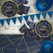Navy And Gold 50th Birthday Party Supplies Tableware Decorations Balloons