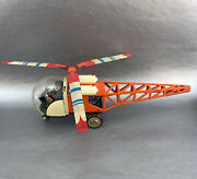Vintage Tin Toy Clockwork Helicopter Mf110 Flexible Monorail Tinplate China