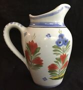 Quimper France 6-1/4 Tall Pitcher Blue With Flowers And Rooster F295 D485 J.p.