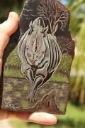 Hand-carved Etch And Paint On Stone Zimbabwe African Rhino By Gift 131