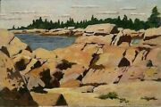 Antique Listed American James Chapin Sd Orig O/b Rocky Inlet Maine 1915