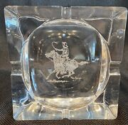 Frederick Remington Etched 6andrdquo Square Glass Signed Ashtray