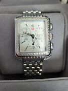 Michelle Deco Moderne Double Row Diamond Chronograph Watch Rare To Find