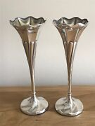 A Fabulous Pair Of Antique 1907 Edwardian Silver And Gilt Flower Stem Posy Vases