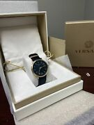 Versace V-circle Lady Watch Ve8101819 Black Leather Band Sold Out Everywhere