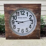 Pottery Barn Wood Frame Wall Clock Grand Hotel - Rare Sold Out Large 27