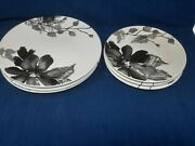 Kenneth Cole Reaction Etched Gray Floral Dinner And Salad Plates