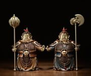 Brass Hand-painted Exorcise Evil Spirits Two Guard God Door-god Soldier Warrior