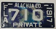 1917 Alachua Co Florida Porcelain Old License Plate Tag Private Very Rare 710