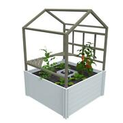 Keyhole Garden With Rack And Green House White Vinyl Raised Planter Box Stand