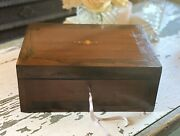 Beautiful Antique Inlaid Wooden Sewing Box Fitted Drawers And Original Key