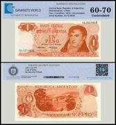 Argentina 1 Peso Banknote 1974 P-293a Unc Tap 60 - 70 Authenticated