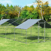 Large Walk In Chicken Coop Run House Shade Cage 10and039 X 26and039 W/ Roof Cover Garden