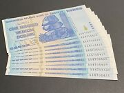 100 Trillion Zimbabwe Banknotes Uncirculated Sequential Set Of 10 Notes