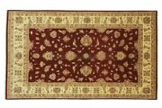 Afghan Chobi Ziegler Carpet Hand Knotted 200x300 Red Floral Wool Short-pile