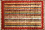 Afghan Khorjin Shaal Carpet Hand Knotted 210x300 Red Striped Wool Short-pile