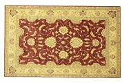 Afghan Chobi Ziegler Carpet Hand Knotted 210x300 Red Floral Wool Short-pile