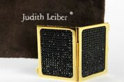 Judith Leiber Black Crystal Gold Miniature Travel Photo Frame Two Sided Vintage