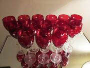 14 Ruby 9 Goblets Polka Dots 12oz Water Wine Glasses Red Flash Bowl Clear Stems