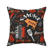 Barbecue On Black Cookout Bbq Throw Pillow Cover W Optional Insert By Roostery