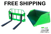 John Deere Jd 72 Snow/ Mulch Bucket And 36 Pallet Forks Combo Free Shipping
