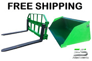 John Deere Jd 72 Snow/ Mulch Bucket And 48 Pallet Forks Combo Free Shipping