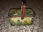 Vintage Iten Biscuit Co. Animal Cookies Tin Container Can Crackers