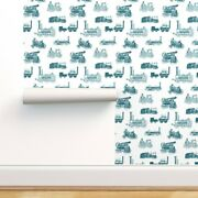 Removable Water-activated Wallpaper Antique Steam Aquamarine Large Train Trains