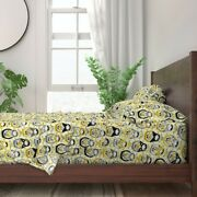 Yellow Ditsy Floral Grey Color Year 100 Cotton Sateen Sheet Set By Spoonflower