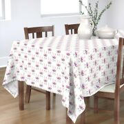 Tablecloth White Funny Face Spring Easter Bunny Cute Pink Purple Cotton Sateen