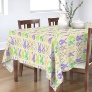 Tablecloth Plaid Bunny Butts Cream Medium Scale Gingham Egg Easter Cotton Sateen