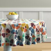 Round Tablecloth Leaf Clover Luck Cotton Sateen