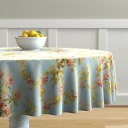Round Tablecloth Floral Damask Vow Blue Antique Victorian Roses Cotton Sateen