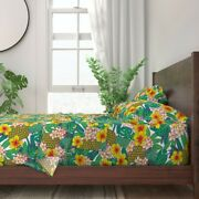 Hawaii Flowers Floral Hibiscus 100 Cotton Sateen Sheet Set By Spoonflower