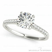 0.82 Ct Natural Solitaire Diamond Engagement Ring Round Cut H/si2 14k White Gold