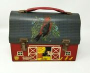 Vintage Thermos Brand Farmhouse Red Barn Tin Metal Lunchbox Carry Case Used